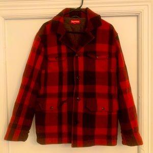 Supreme men's red plaid wool jacket, size L